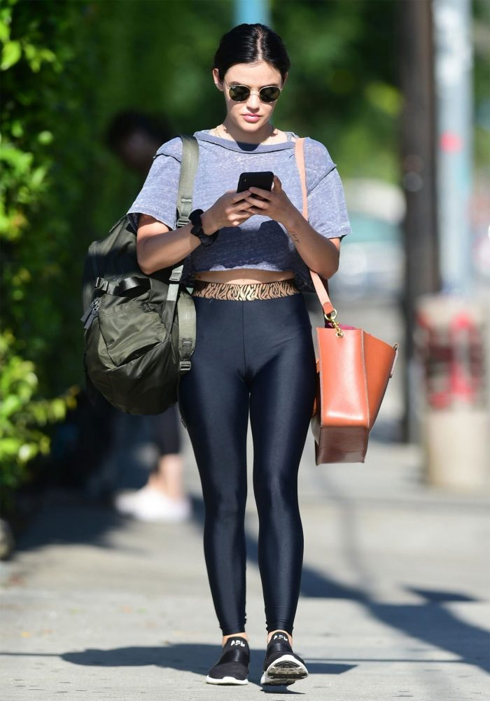 Lucy Hale Cameltoe in Workout Pants