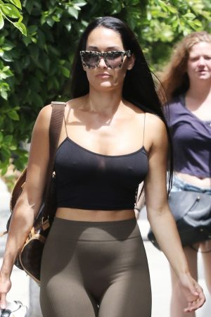 Nikki Bella Braless in Thin Black Tank Top