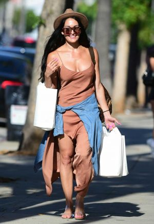 Nikki Bella Braless Nipple Pokies While Out & About