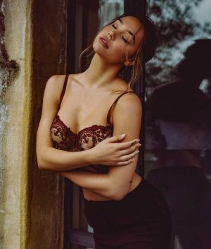 Alexis Ren Nipples in Sheer Lace Corset