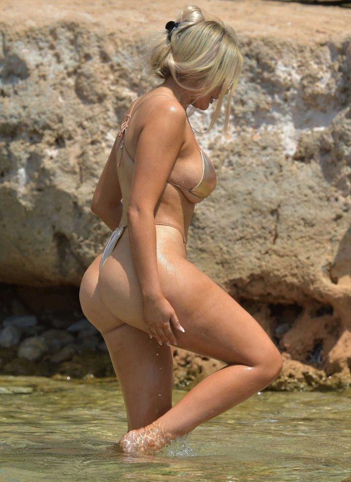 Chloe Ferry in a Golden Bikini