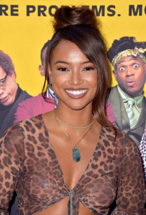 Karrueche Tran Nipple Pasties in Animal Print Top