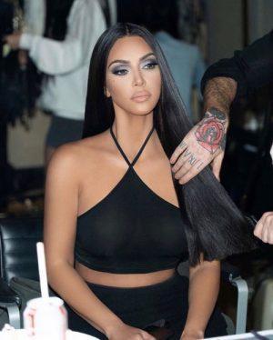 Kim Kardashian Braless in Full Makeup