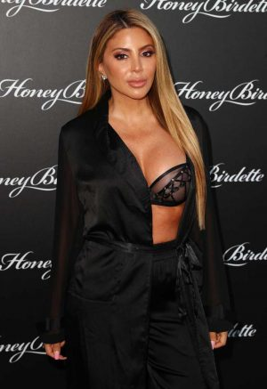 Larsa Pippen in a Black See Through Lace Bra