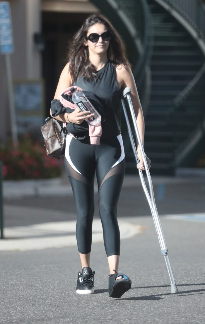 An Injured Nina Dobrev in Yoga Pants and some Cameltoe