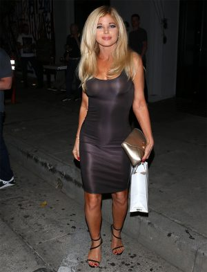 Donna D'Errico Out in a Skin Tight and Slightly See Through Dress