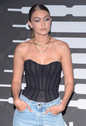 Gigi Hadid No Bra in Sheer Black Corset