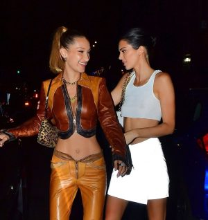 Kendall Jenner Night Out with Bella Hadid Braless in Sheer White Top