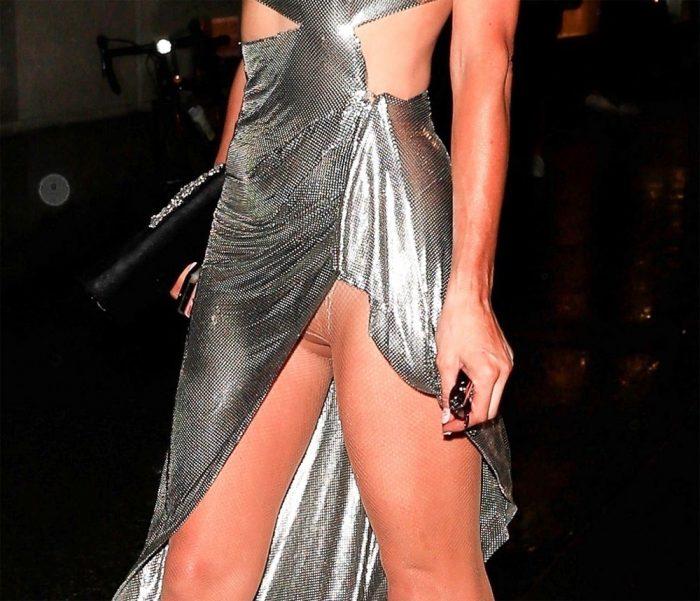 Paris Hilton Upskirt in Shiny Silver Dress