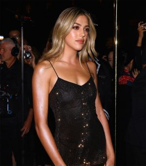 Sistine Stallone Braless in Sequin Evening Gown