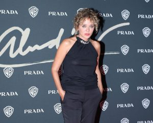 Valeria Golino Braless in Thin Black Top on the Red Carpet