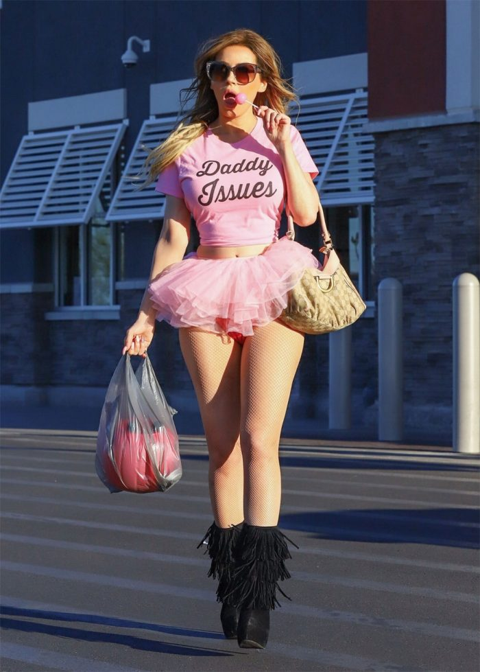 Ana Braga Out Halloween Shopping in Red Panties and a Tutu