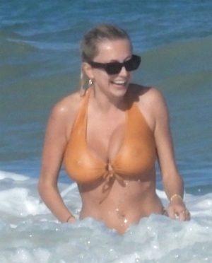 Caroline Vreeland Giant Breasts in See Through Bikini Top
