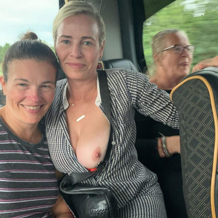 Chelsea Handler Boob Out with her Sister