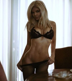Donna D'Errico Posing in Sheer Black Lace Lingerie