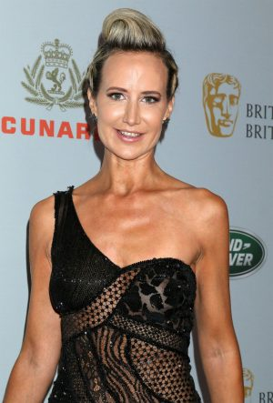 Lady Victoria Hervey Braless in Black Lace Dress