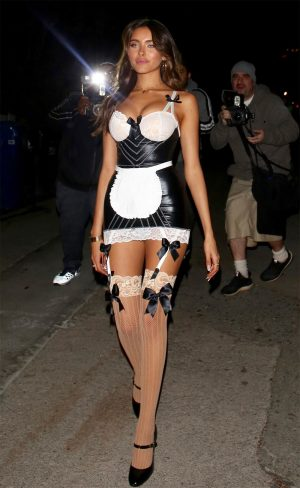 Madison Beer Dressed as a Naughty French Maid for Halloween