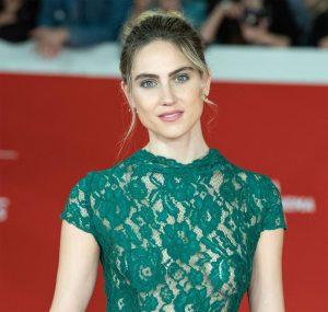 Miriam Galanti Braless in Lace Green Dress