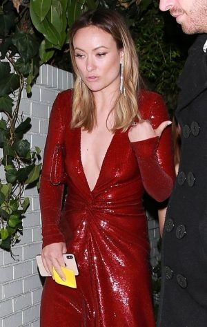 Olivia Wilde Nipples in Red Evening Gown