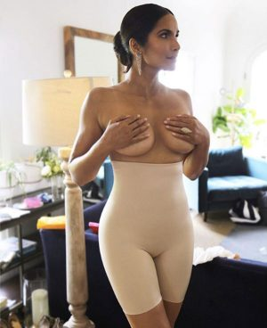 Padma Lakshmi Topless While Holding her Breasts