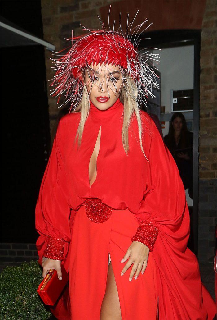 Rita Ora White Pantie Flashes in Red Dress