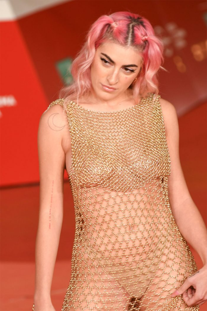 Roshelle Only Wearing a Thong in Gold Chain-link Dress