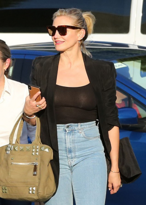 Cameron Diaz Caught Out in a Black Sheer Tank Top