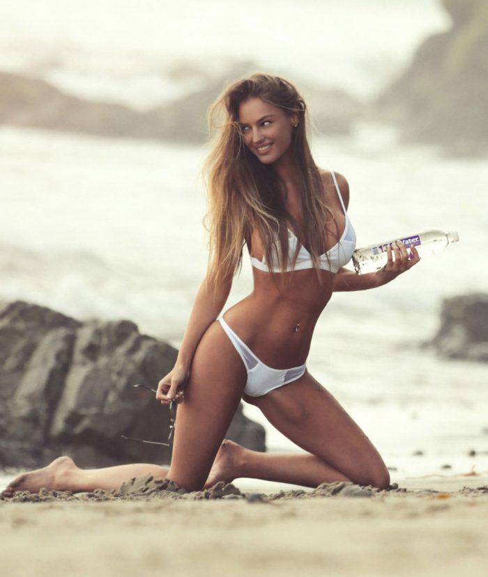 Charlie Riina Nipples in Sheer Mesh White Bikini for 138 Water