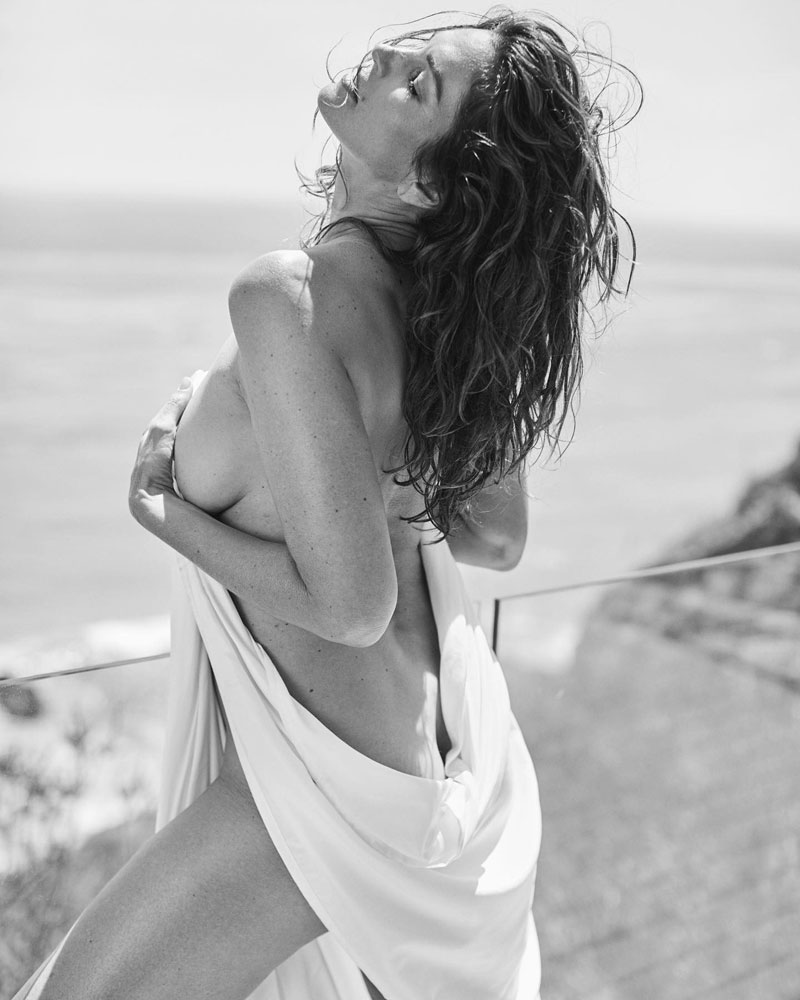 Cindy Crawford Posing Topless but covered In B&W