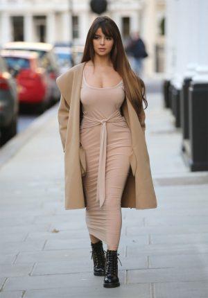 Demi Rose Big Nipple Pasties in Beige Tight Dress