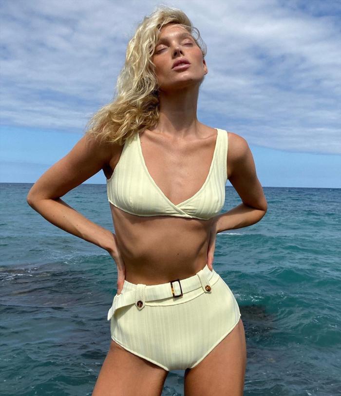 Elsa Hosk Pokies & Cameltoe in James Bond Style Bikini