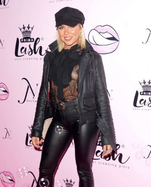 Gabby Allen Nipple Slip in Black Lace Top & Leather