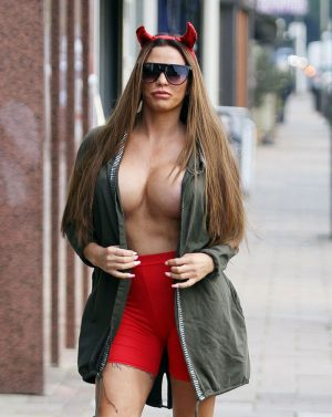 Horny Devil Katie Price Out Braless on the Streets