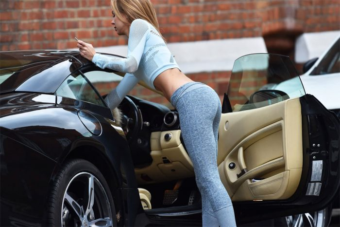 Kimberley Garner Yoga Outfit with her Ferrari