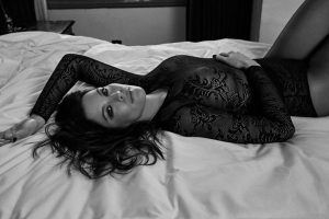 Liv Tyler Braless in Black Lace for B&W Photo Set