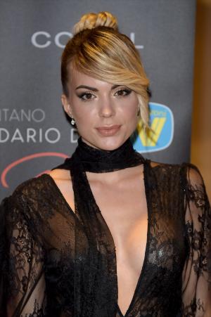 Ludovica Pagani Braless in a Black Lace Dress