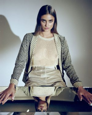 Taylor Hill Posing Braless in See Through Cream Sweater