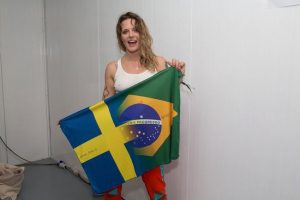 Tove Lo Braless Pokies Holding a Flag