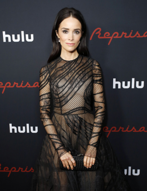 Abigail Spencer Nipples in Sheer Lace Gown