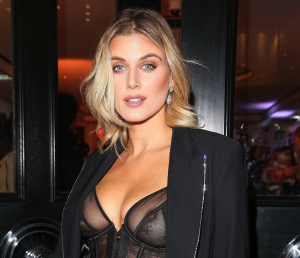 Ashley James Wearing Black Lace and Leather Corset