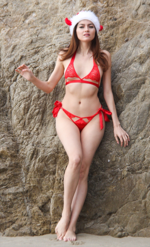 Blanca Blanco Wearing her Favorite Christmas Bikini