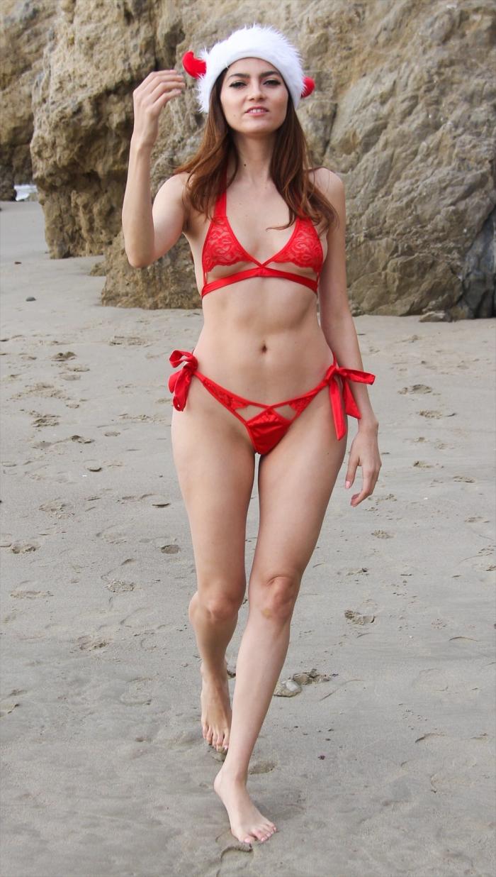 Blanca Blanco Wearing her Favorite Christmas Bikini