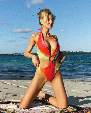 Charlotte McKinney Cameltoe in Rainbow Bathing Suit