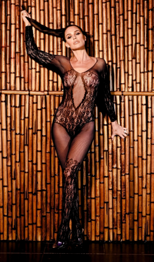 Danielle Lloyd Posing in Sheer Lace Lingerie