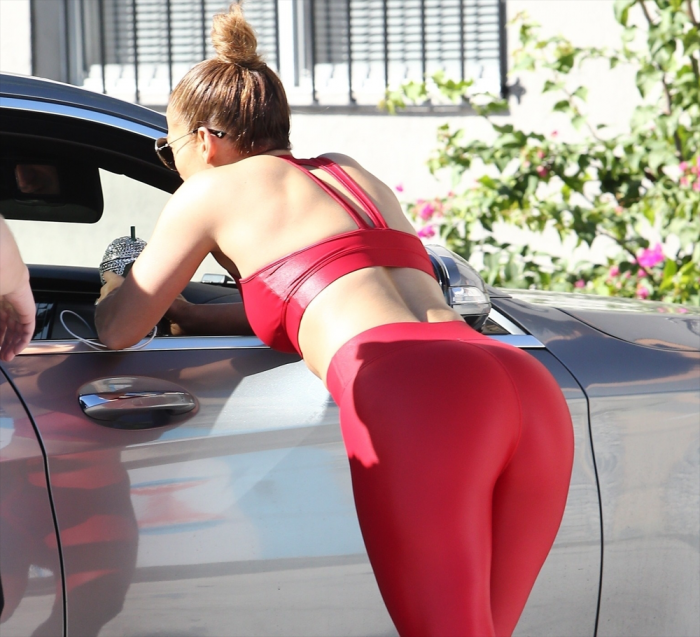 Jennifer Lopez in Red Latex Workout Gear