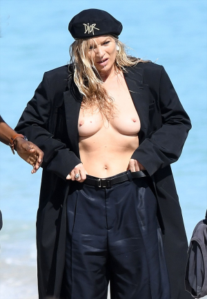 Kate Moss Topless Modeling on a Beach