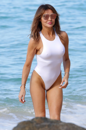 Lizzie Cundy Hard Nips & Vag Slip in White Bathingsuit