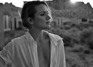 Shantel VanSanten Braless Nipple Pokies in B&W