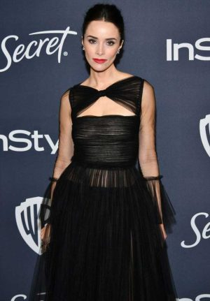 Abigail Spencer No Bra in a Black Sheer Evening Gown