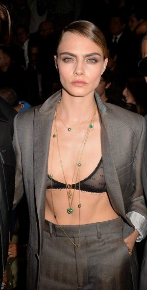 Cara Delevingne Nipple Peek in Sheer Black Bra